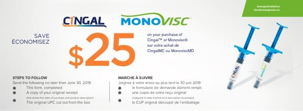 Save $25 on Cingal or Monovisc